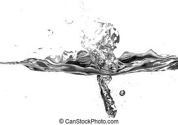 Black and white water splash