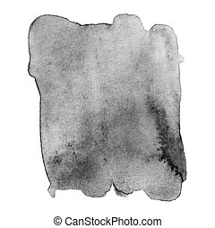 Black and white watercolor stain. Abstract hand drawn grey watercolor background