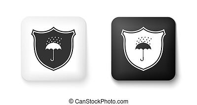 Black and white Waterproof icon isolated on white background...