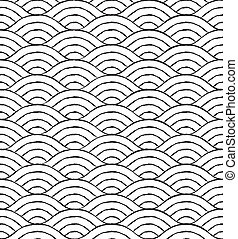 Black and white waves seamless pattern