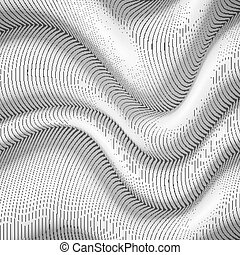 Black and white wavy stripes abstract background