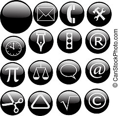 black and white web buttons