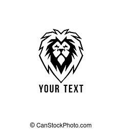 Black and White Wild Lion Head Logo, Flat Design Vector