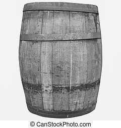 Black and white Wine or beer barrel cask