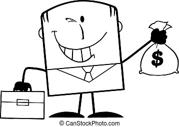 Black And White Winking Businessman
