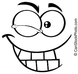 Black And White Winking Cartoon Funny Face With Smiling Expression