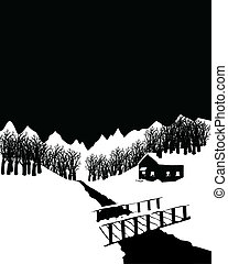 Black and white winter landscape with cottage in the woods