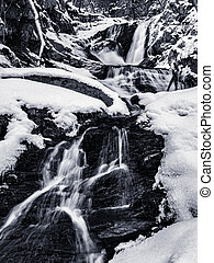 Black and White Winter Water Fall Landscape of Sanderson Brook Falls