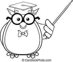 Black And White Wise Owl Teacher Cartoon Mascot Character...