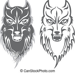black and white wolf pattern design.