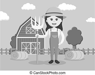 black and white woman barn  illustration design black and white style