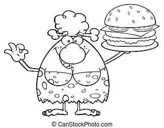 Black And White Woman With A Burger