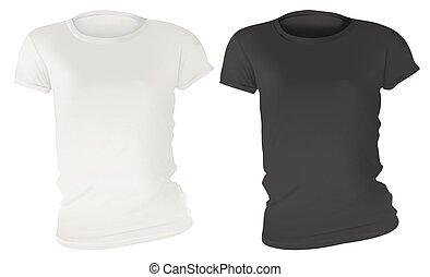 Black and White Women T-Shirt Design Template