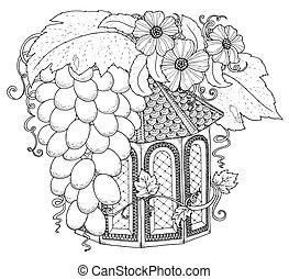 Hand drawn outline nesting box decorated with floral ornament. Zentangle inspired pattern for coloring book pages