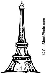 Eiffel Tower - Black and White woodcut style illustration of...