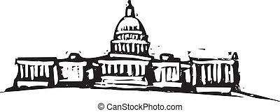 Washington DC Capital - Black and White woodcut style ...