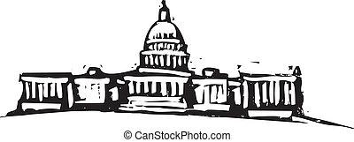 Black and White woodcut style illustration of the Washington DC Capital building.