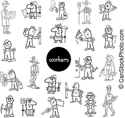 black and white workers characters set