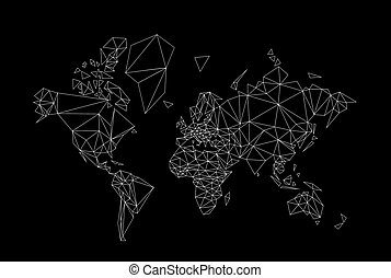 world map low poly - black and white world map low poly ...