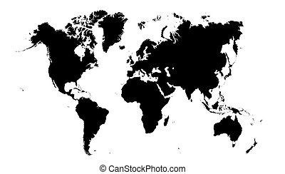 World Map - Black and White World Map vector illustration ...