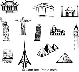 Black and white vector doodle sketch icons of famous worldwide landmarks for travel and tourism industry design