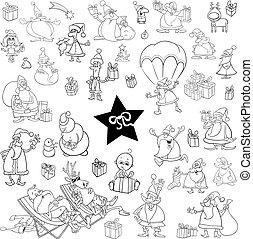 black and white xmas cartoon set