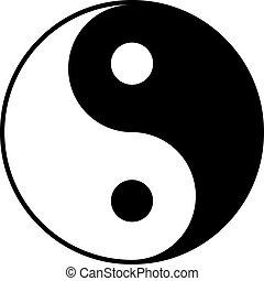 Black and white yin-yan symbol isolated on white background.