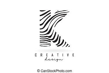 Black and White Zebra K Letter Logo Design.