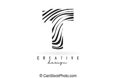 Black and White Zebra T Letter Logo Design.