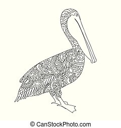 black and white zen tangled patterned pelican  for adult coloring