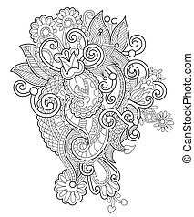 black and white zentangle line art flower drawing, graphic...