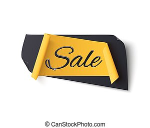 Black and yellow abstract sale banner, isolated on white.