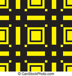 Black and Yellow abstract square and rectangle type background