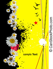Black and yellow background with chamomile image. Vector illustration