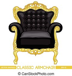 Black and yellow classic armchair over white background....
