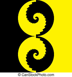 Black and yellow double dot spyral stairs background on square