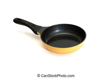 Black and yellow frying pan isolated on white background