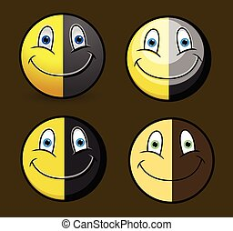 Black and Yellow Happy Emoticons