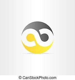 black and yellow infinity symbol