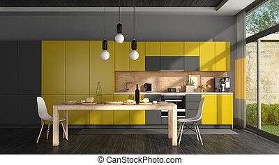 Black and yellow modern kitchen