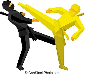 Black and yellow ninja combat