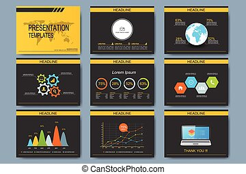 Black and yellow set of vector templates for multipurpose presentation slides. Modern business flat design with graphs or chart. Leaflet marketing advertising