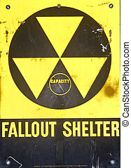 Black and Yellow Sign for a Fallout Shelter