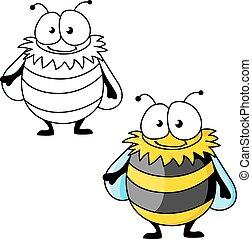 Black and yellow striped furry cartoon bumblebee