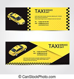Black and yellow taxi card with taxi car image - Vector illustration