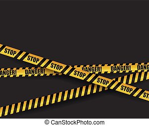 Black and yellow warning sign. Striped ribbon. Site under construction page or template for attention or danger illustration. for web