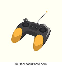 Black and yellow wireless joystick with antenna and different buttons. Cartoon flat vector icon of remote controller for quadcopter