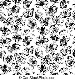 Black anemone flowers and leaves ornament pattern