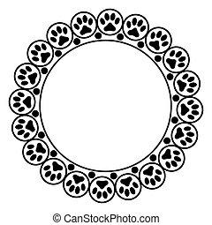 Black animal paw prints round frame.