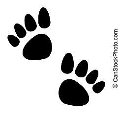 Black animal paws print isolated on white background